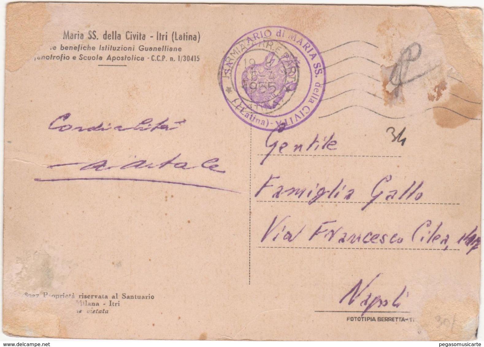 M228 ITRI LATINA SANTUARIO MARIA SS DELLA CIVITA 1940 CIRCA - Latina