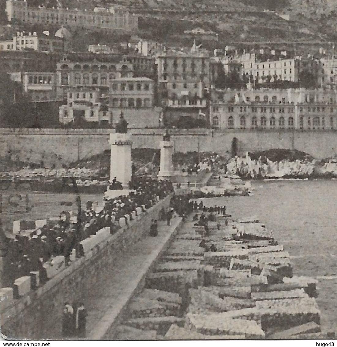 (RECTO / VERSO) MONTE CARLO EN 1914 - N° 214 - VUE GENERALE ET ENTREE DU PORT - TIMBRES DE MONACO - CPA - Harbor