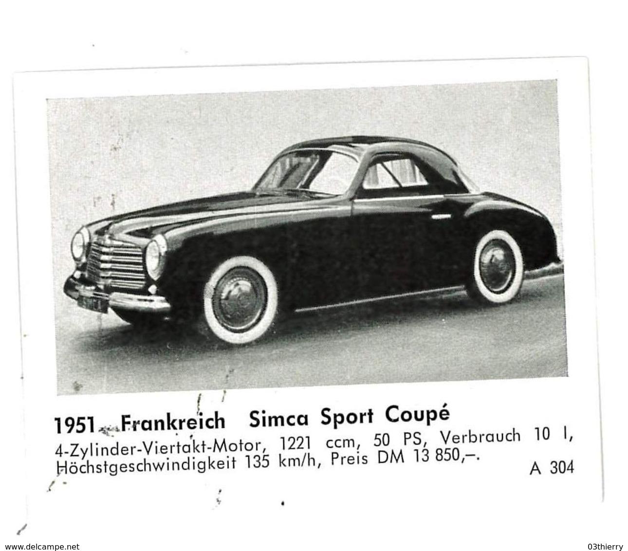 CHROMO IMAGE AUTOMOBILE 1951 FRANCE SIMCA SPORT COUPE - Documentos Antiguos