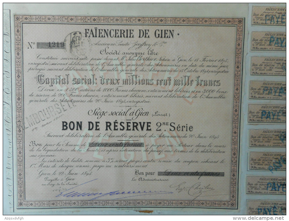 FAIENCERIE De GIEN         1895           GIEN - D - F