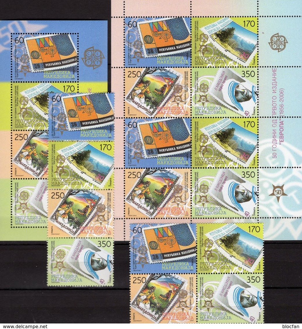 EUROPA Mazedonien 370/3 4-ZD,VB,8-KB+Block 13 ** 161€ Stamps On Stamp Sheets Blocs Sheetlet Bf 50 Years CEPT 2005 - Stamps