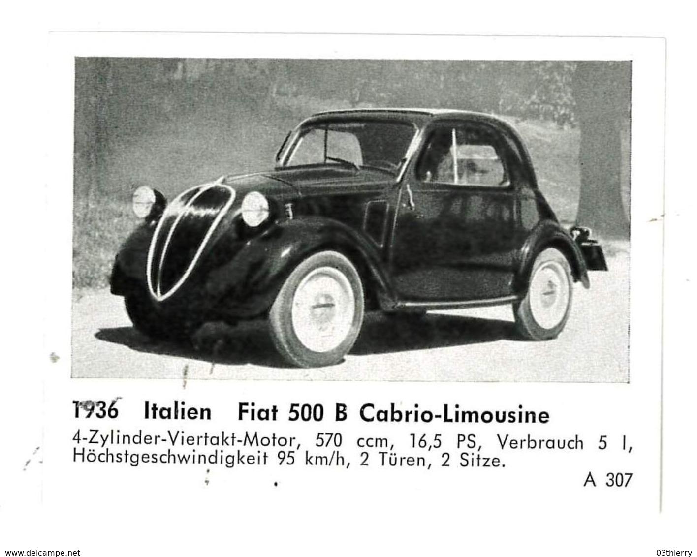 CHROMO IMAGE AUTOMOBILE 1936 ITALIE FIAT 500 B CABRIO-LIMOUSINE - Documentos Antiguos
