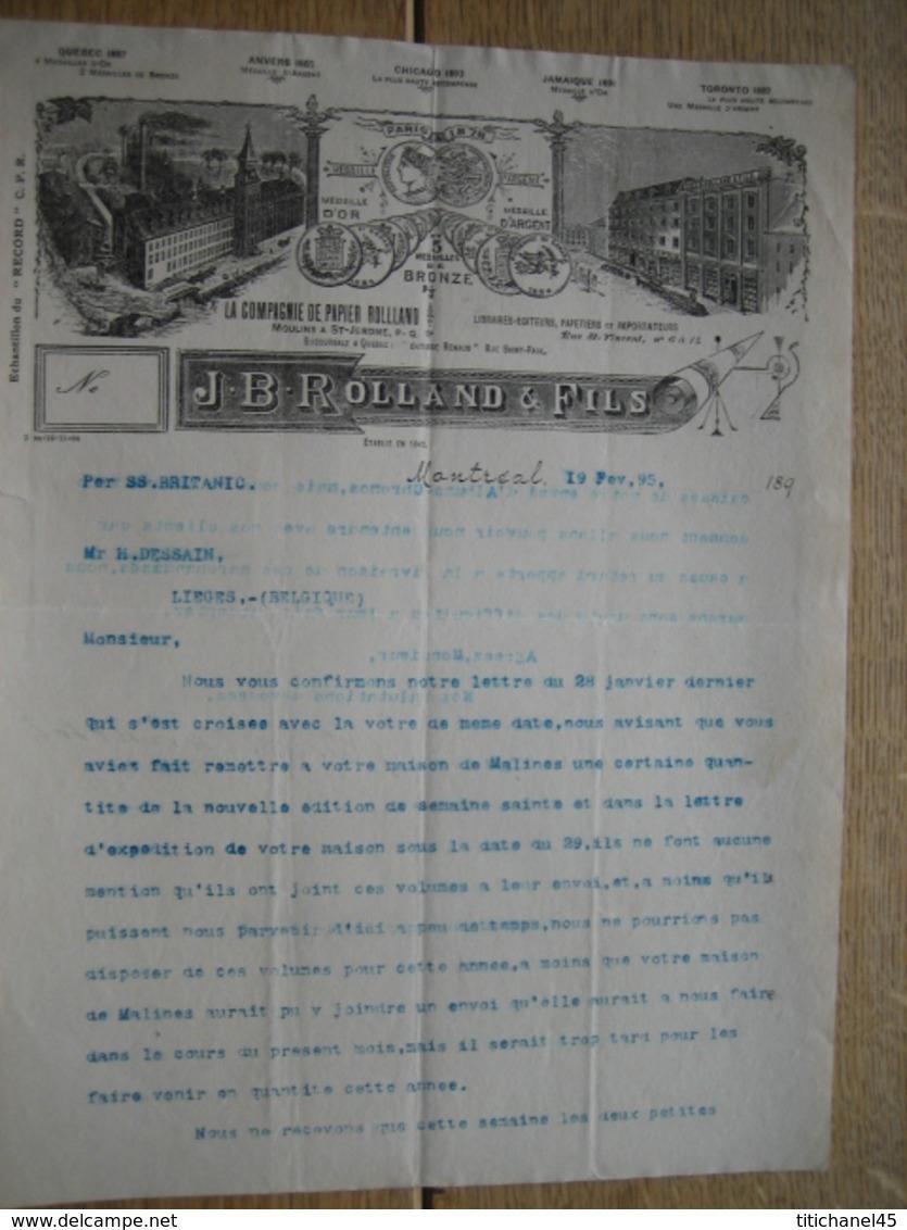 Lettre Illustrée 1895 MONTREAL -  J. B. ROLLAND & Fils - Libraires - Editeurs - Papetiers - Kanada