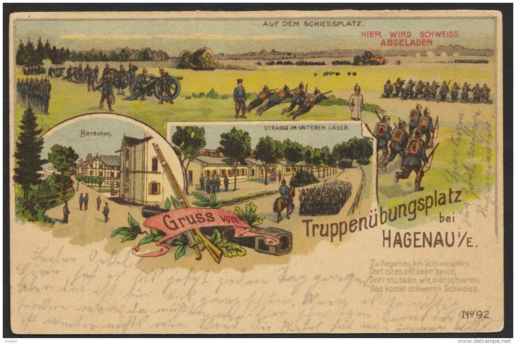"""""""Hagenau"""", Truppenübungsplatz, Farb-Litho, 1912 Gelaufen - Elsass"""