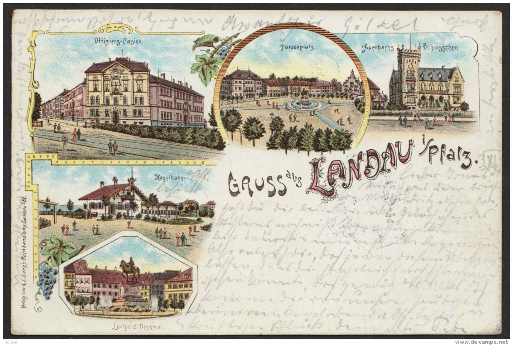 """Landau"", Farb-Litho, 1897 Nach Würzurg - Landau"
