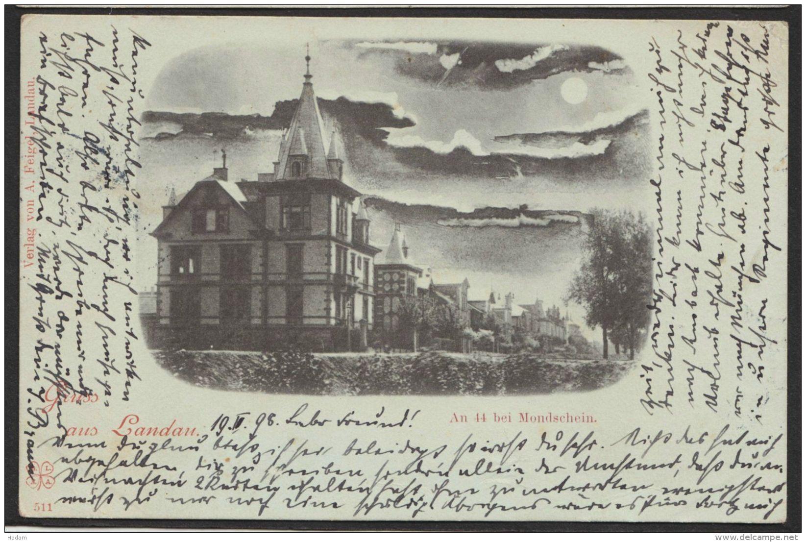 """Landau"", Mondscheinkarte, 1898 Gelaufen - Landau"