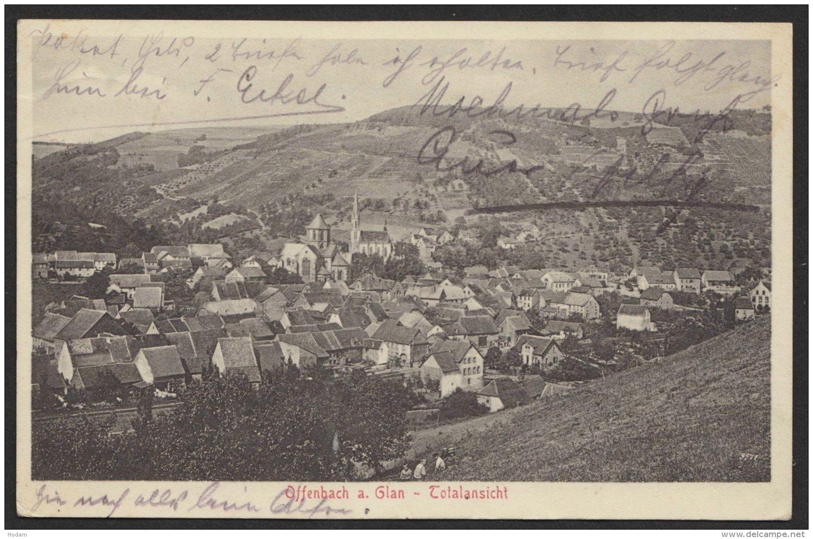 """""""Offenbach/Glan"""", Totale, 1911 Mit Bay. Bahnpost - Deutschland"""