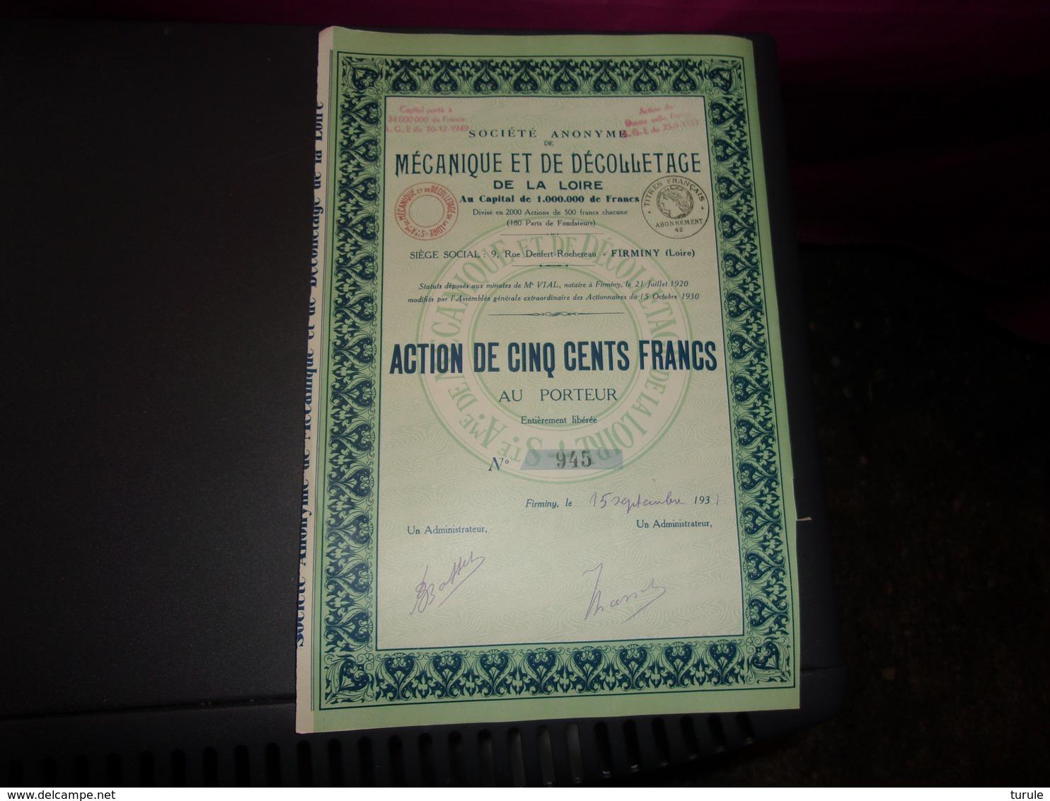Mécanique Et Décolletage De La Loire (1931) FIRMINY - Shareholdings