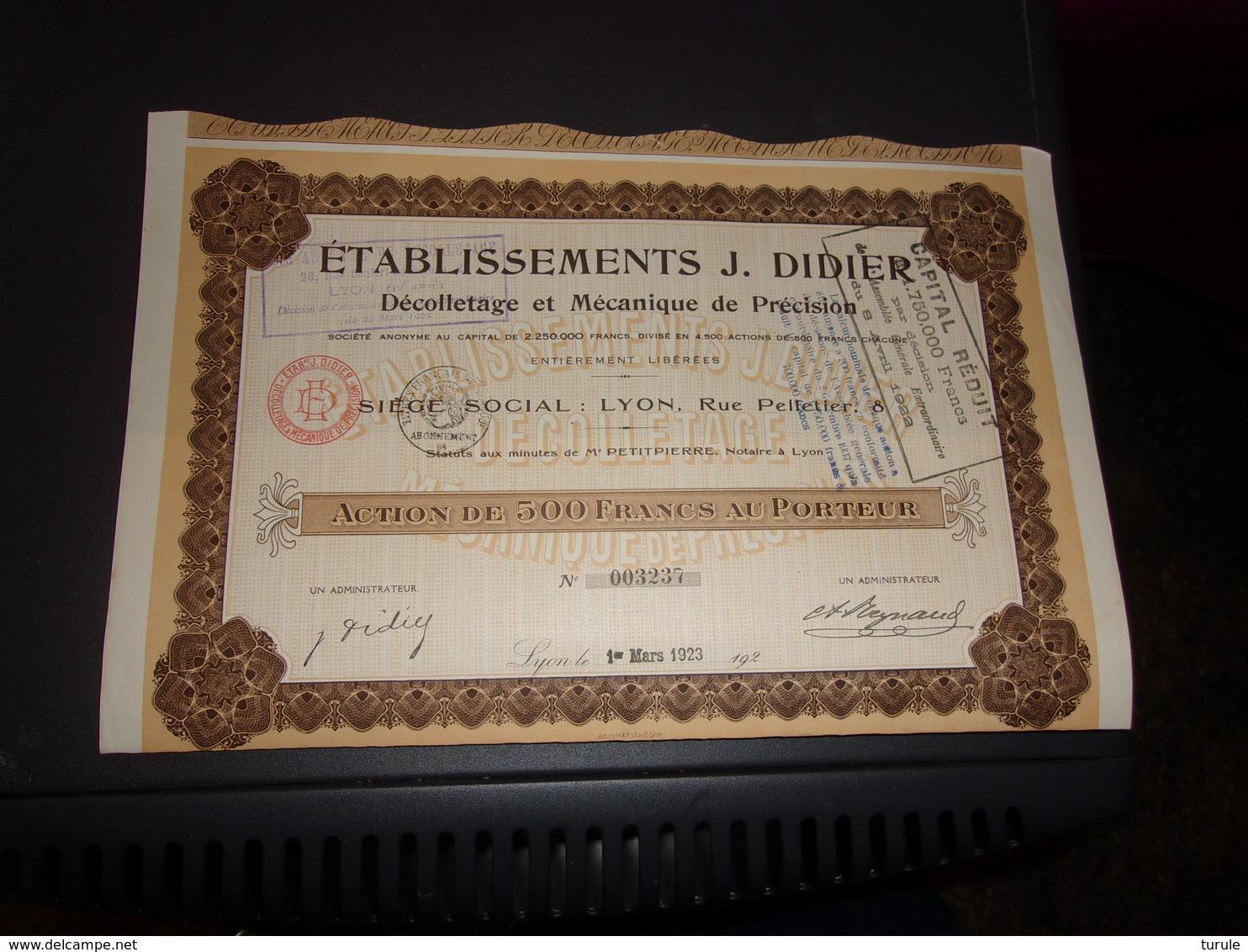 J.DIDIER Décolletage Et Mécanique De Précision (500 Francs) 1922 - Shareholdings