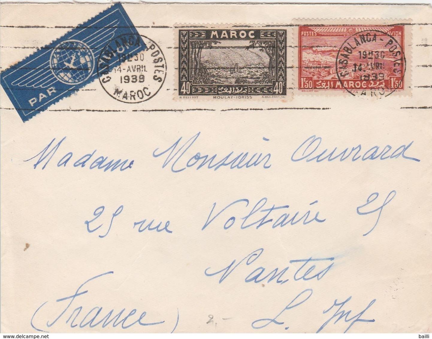 Maroc Lettre Pour La France 1939 - Marokko (1891-1956)