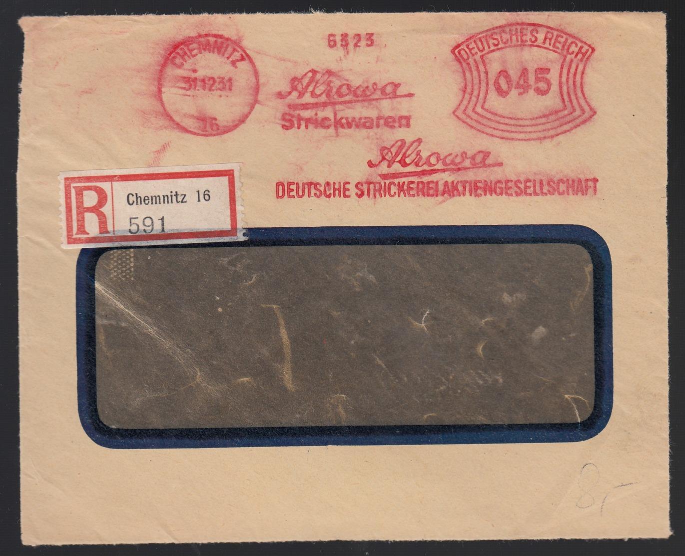 DR Einschreiben Firmenbrief Strickwaren Absenderfreistempel AFS 1931 Briefvorderseite Ab Chemnitz K272 - Storia Postale