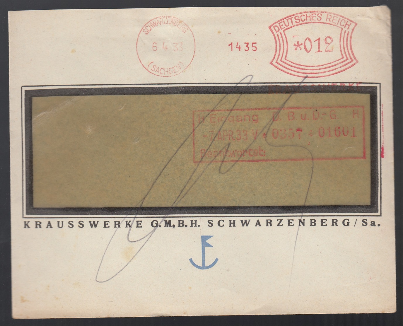 DR Firmenbrief Absenderfreistempel AFS 1933 Ab Schwarzenberg K631 - Deutschland