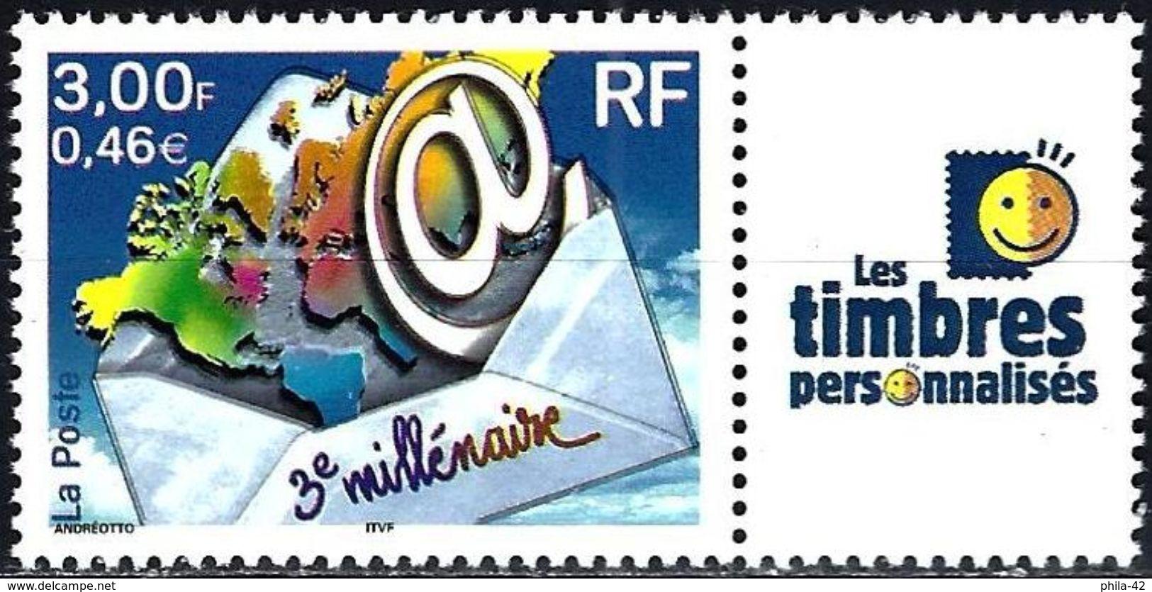 France 2002 - 3nd Millenium + Label ( Mi 3505 - YT 3365B ) MNH** - Personnalisés