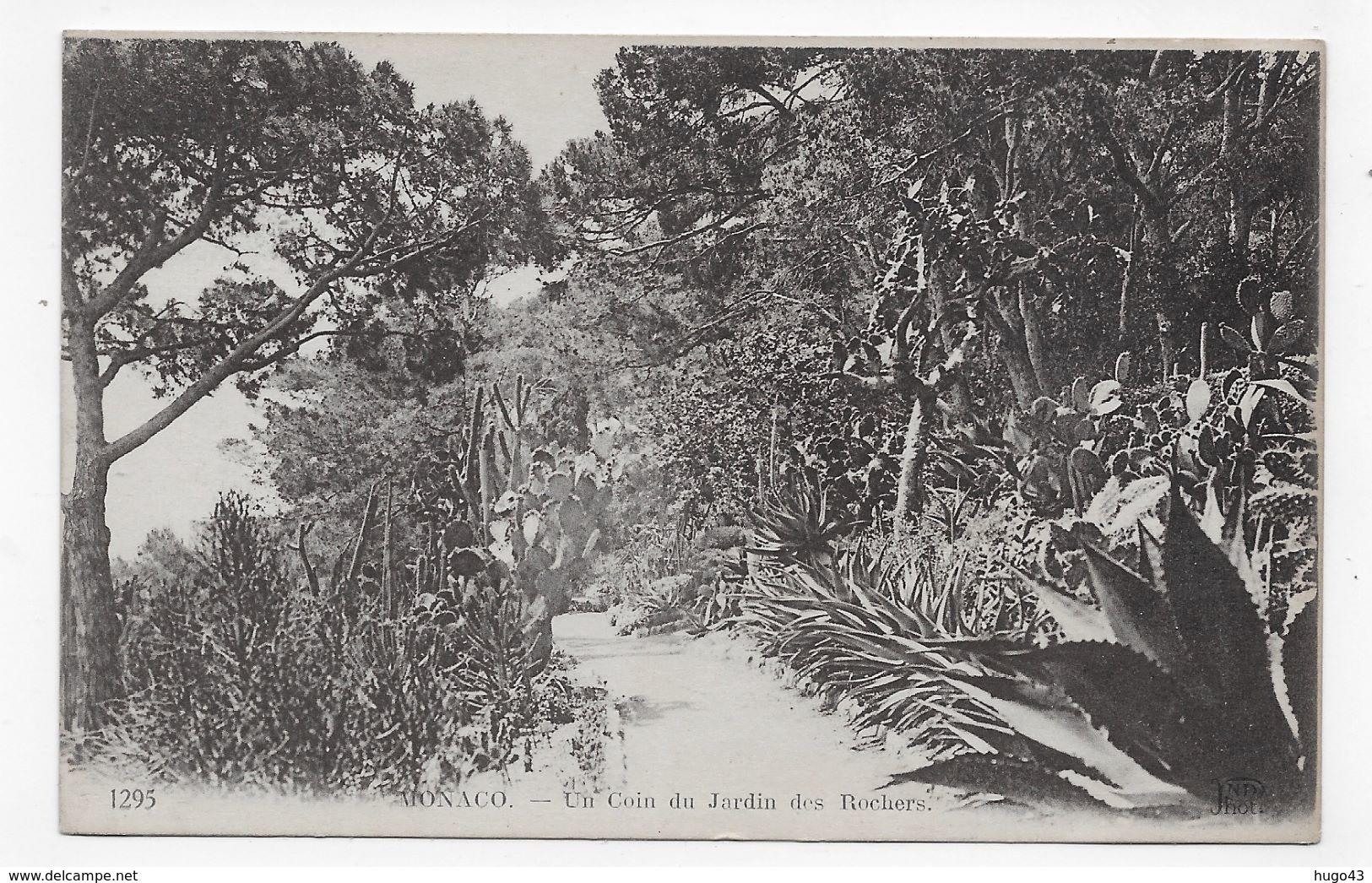 (RECTO / VERSO) MONACO - N° 1295 - UN COIN DU JARDIN DES ROCHERS - TIMBRES DE MONACO - CPA VOYAGEE - Palais Princier