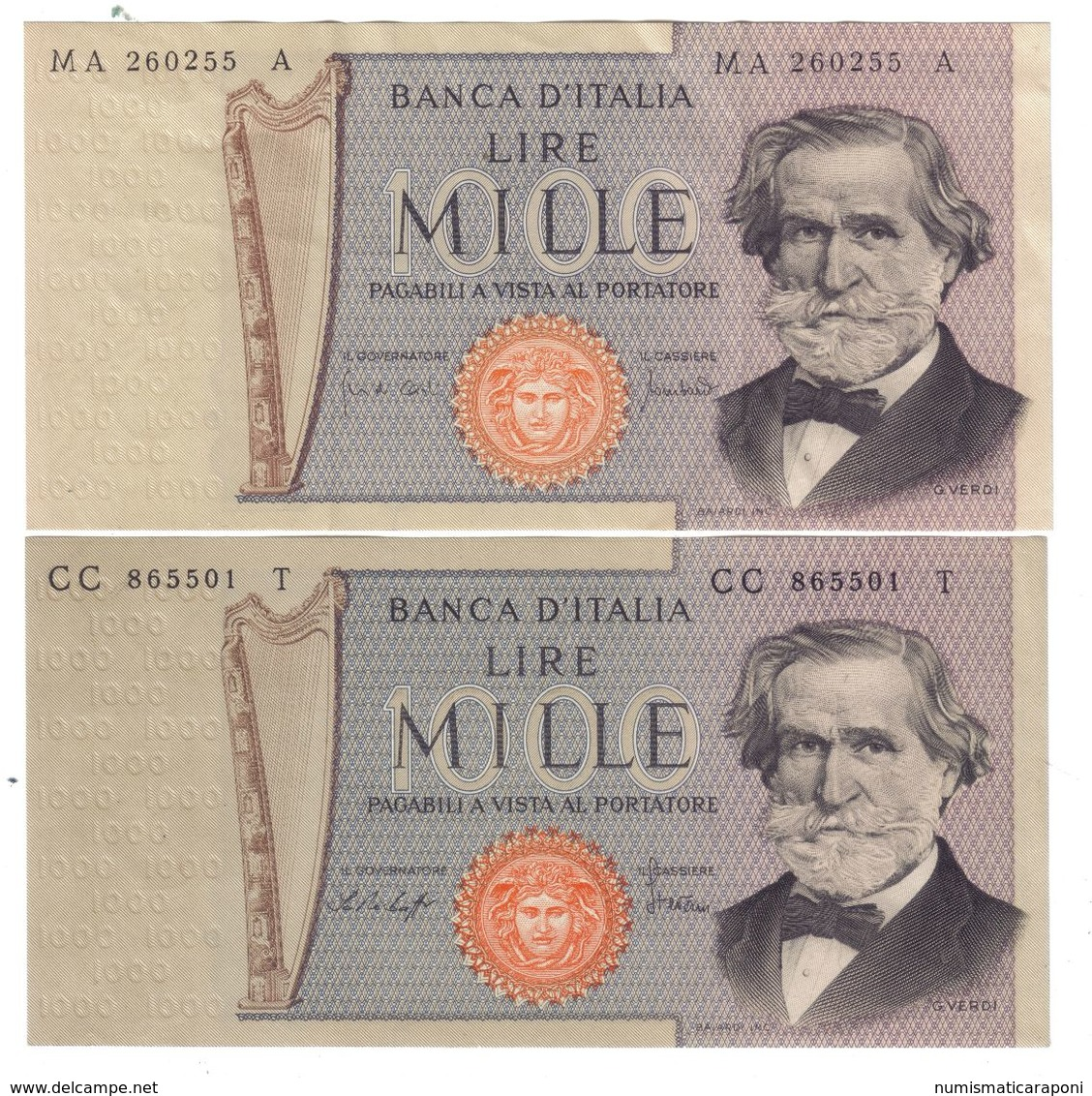 ITALIA 1000 Lire Cerdi II° Tipo 1969 + 1977  LOTTO 955a - 1000 Lire