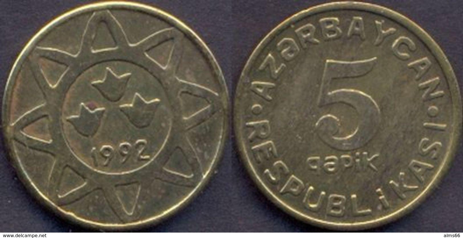 Azerbaijan 5 Qapik 1992 UNC Brass RARE - Azerbaïdjan