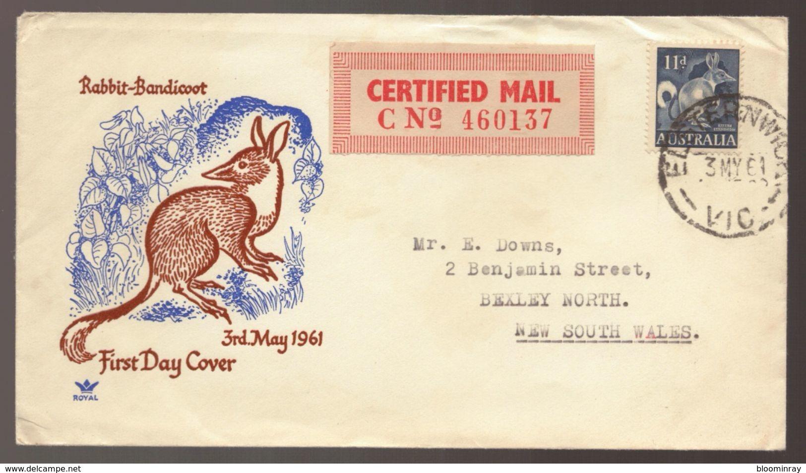 1961 Australia Native Animal Rabbit Bandicoot CERTIFIED MAIL FDC - Primo Giorno D'emissione (FDC)