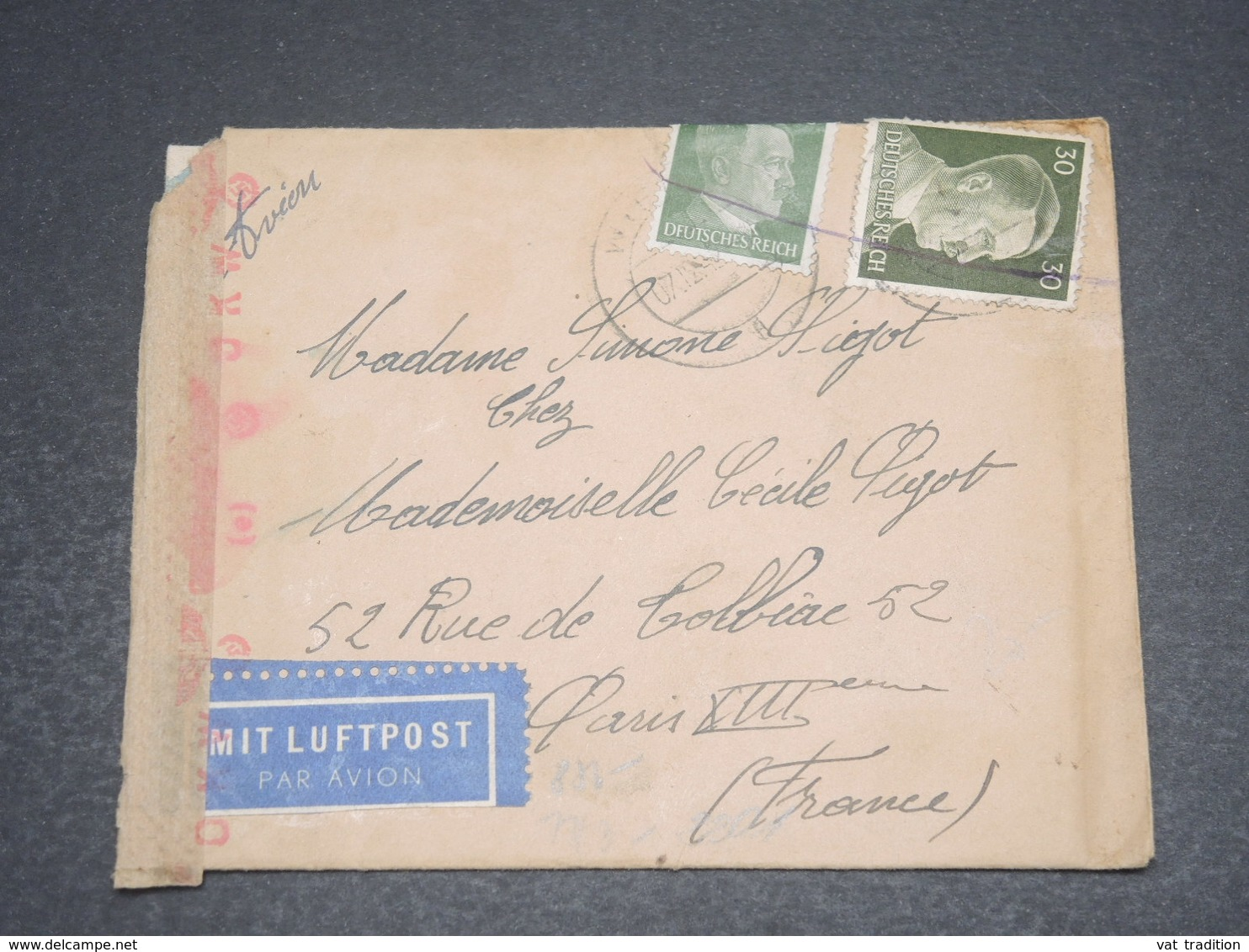 ALLEMAGNE - Enveloppe De Wien Pour Paris Avec Contrôle Postal En 1940 - L 12527 - Allemagne