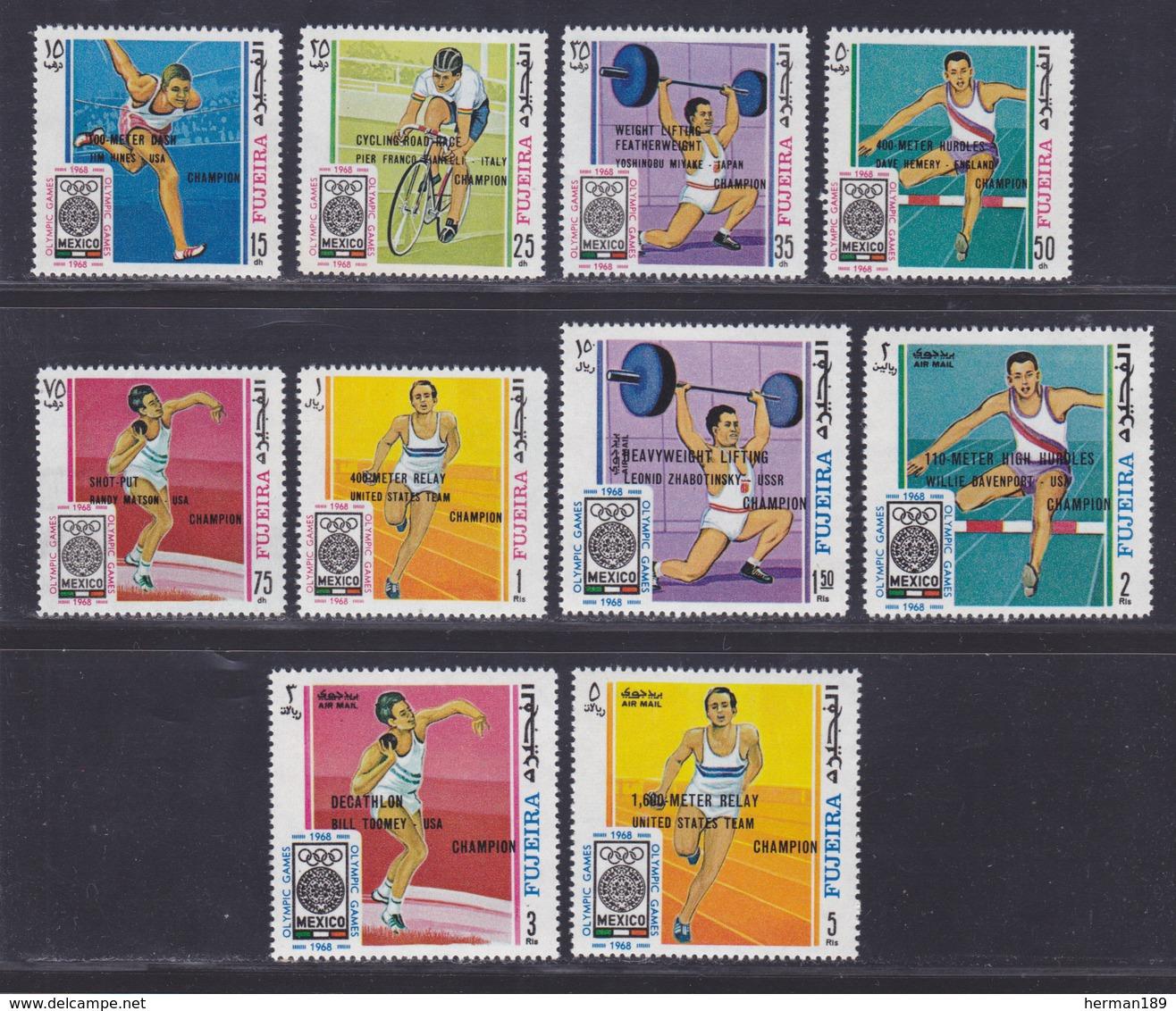 FUJEIRA N°   80 & AERIENS N° 20 ** MNH Neufs Sans Charnière, 10 Valeurs, TB (D4601) Sports, Jeux Olympiques De Mexico - Fujeira