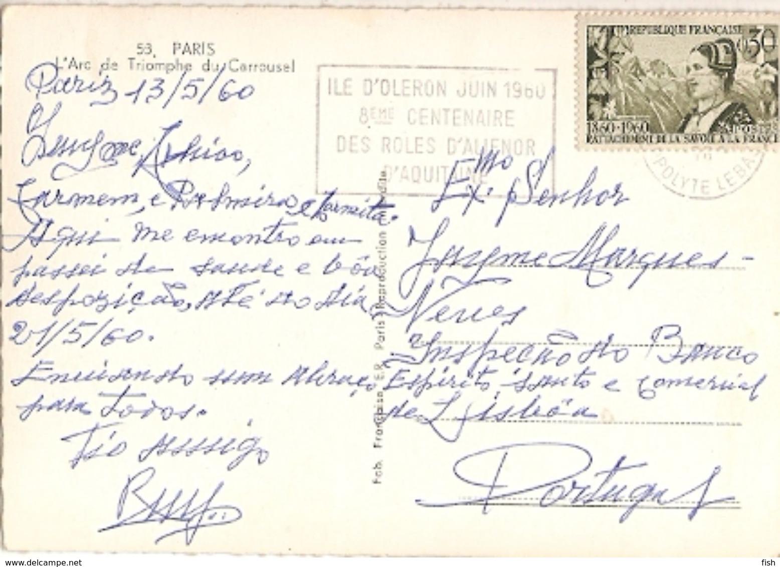 France & Circulated,Paris, Arc De Triomphe Du Carrousel,Ile D'Oleron, Roles De Alienor D'Aquitaine,  Lisboa 1960 (53) - Monumenti