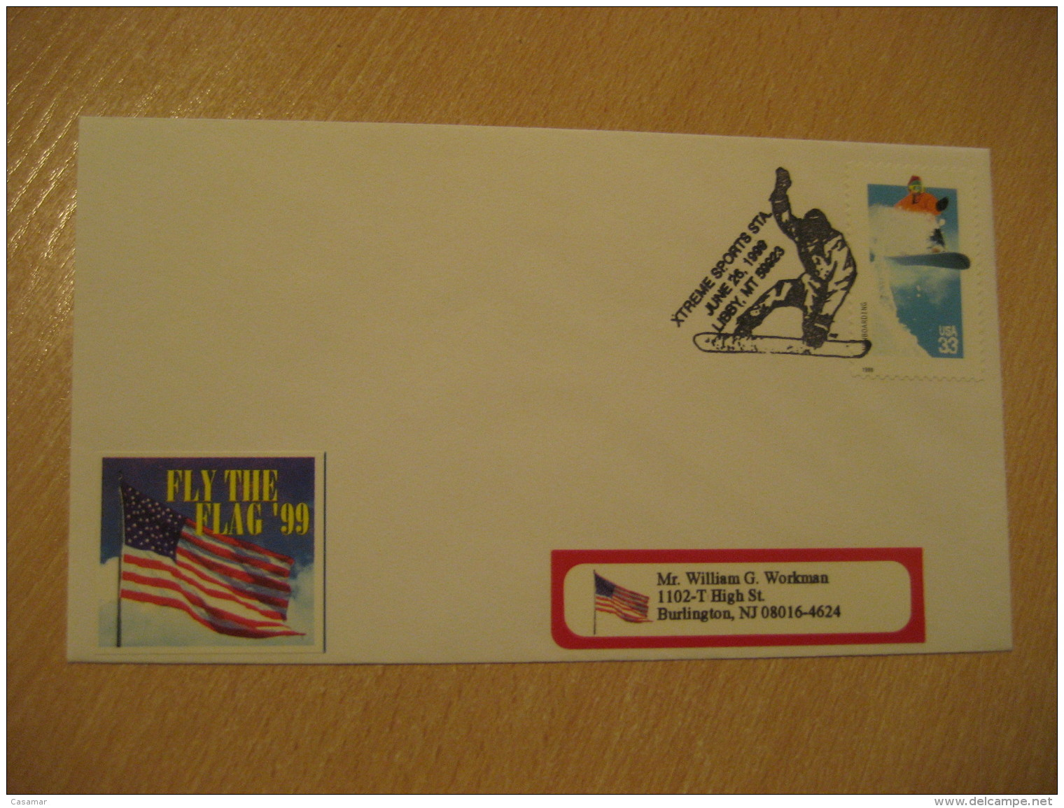 LIBBY 1999 Xtreme Sports Ski Skiing Cancel Cover USA - Sci