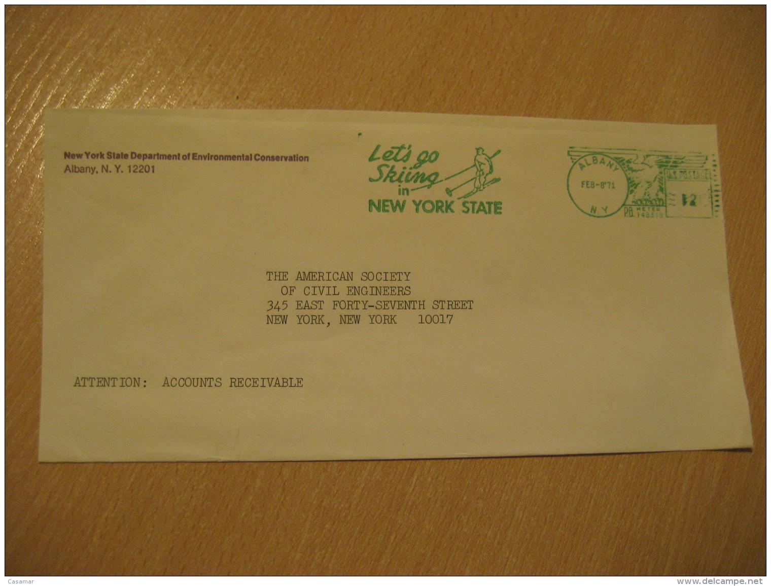 ALBANY 1971 Ski New York State Skiing Meter Mail Cancel Cover USA - Ski