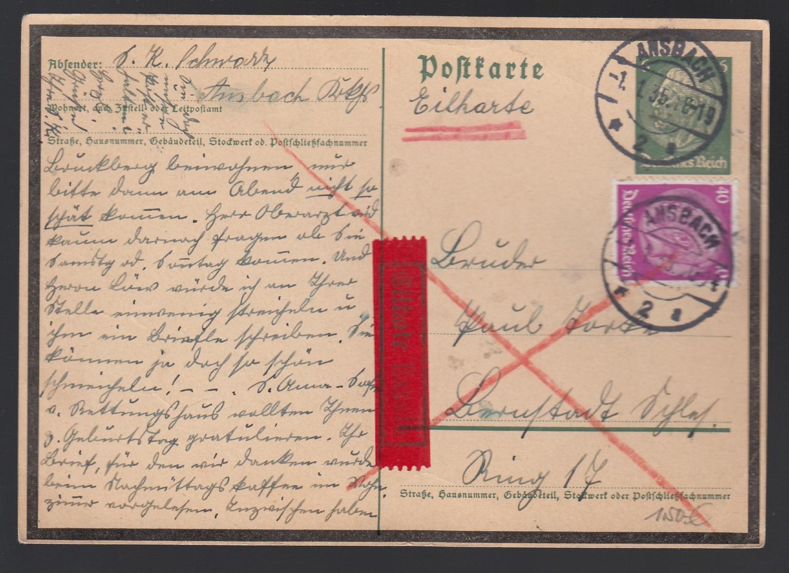 DR Ganzsache P235 1935 Als Eilpost Gelaufen Ab Ansbach K1077 - Ganzsachen