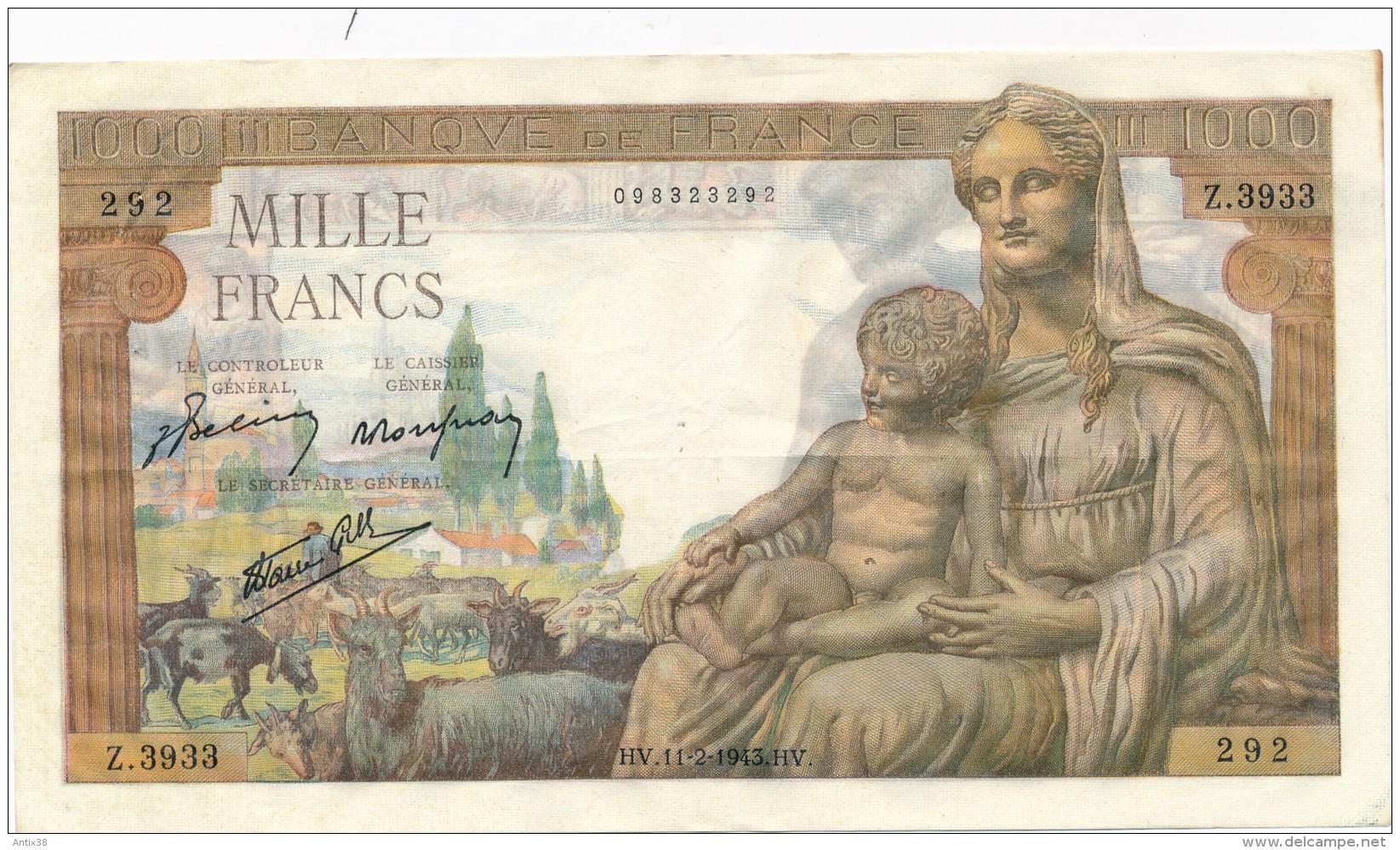 H20 - Billet - 1000 FRANCS  - DÉESSE DEMETER - 1871-1952 Anciens Francs Circulés Au XXème