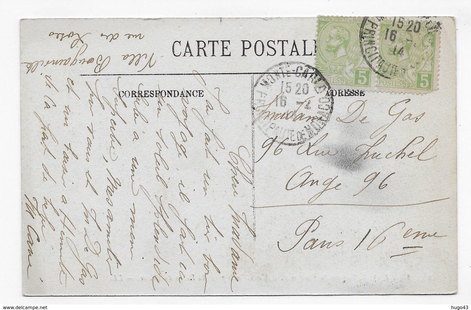 (RECTO / VERSO) MONACO EN 1914 - N° 22 - VUE SUR LA CONDAMINE ET MONTE CARLO - CACHET ET TIMBRES DE MONACO - CPA VOYAGEE - La Condamine
