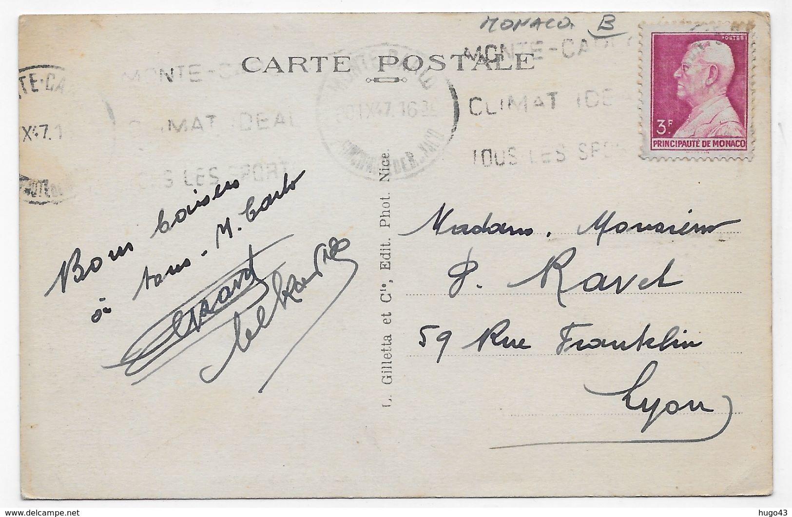(RECTO / VERSO) MONACO EN 1947 - N° 721 - LA PRINCIPAUTE ET LE CAP MARTIN - TIMBRE DE MONACO - FORMAT CPA VOYAGEE - Monaco