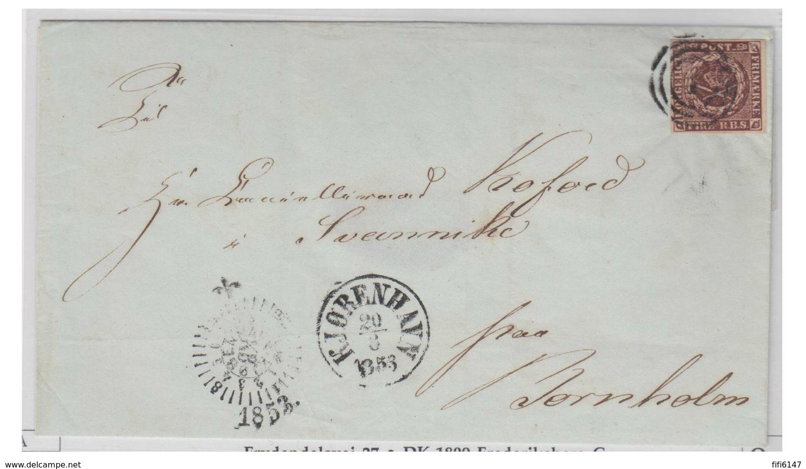 DANEMARK --1853--FIRE RBS BRUN FONCE-- TYPE 2 -- LETTRE SANS CORRESPONDANCE DE COPENHAGUE POUR BORNHOLM-- - 1851-63 (Frederik VII)