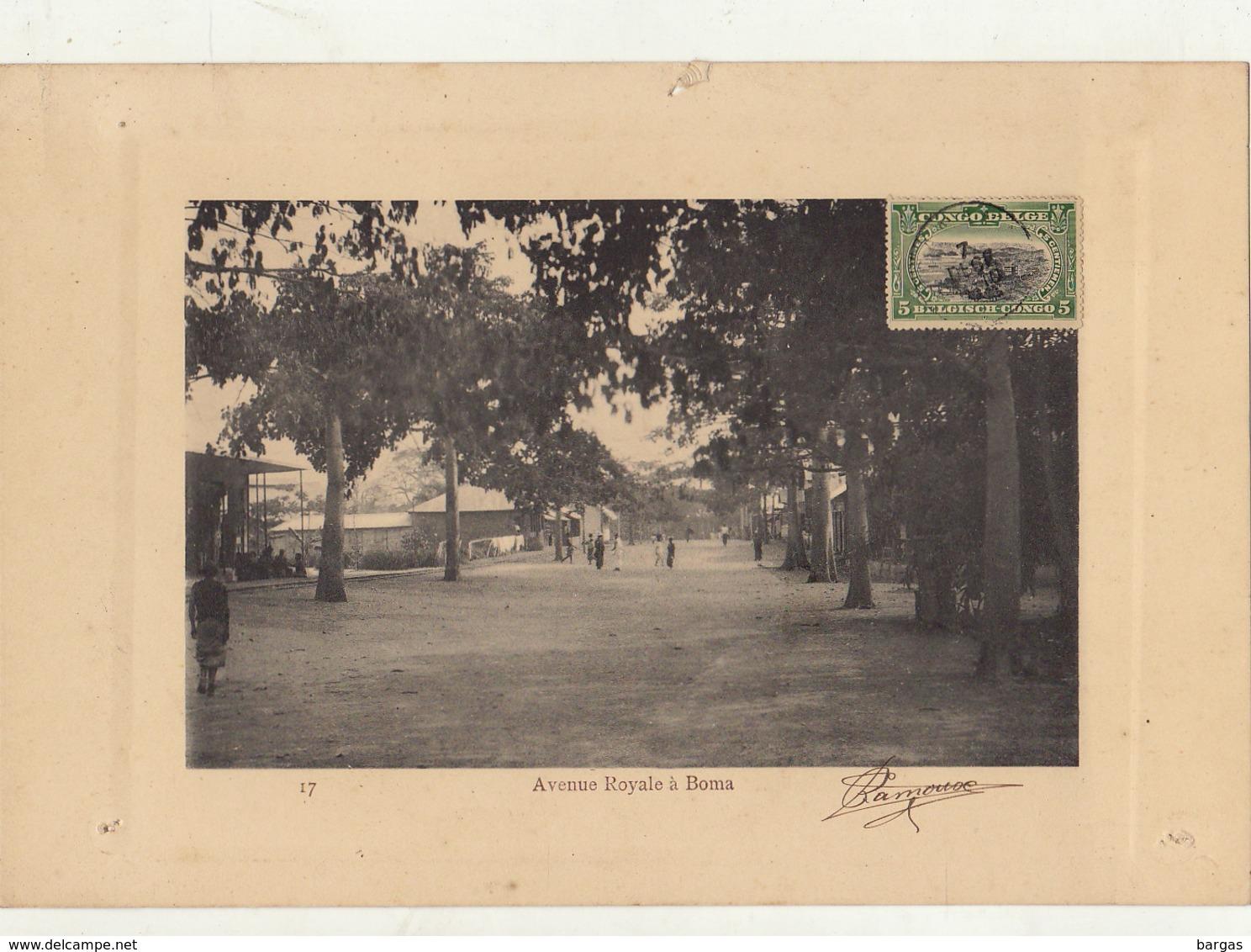 Planche Afrique Congo Belge Avenue à Boma Timbre Taxe D'affichage ? - Vecchi Documenti