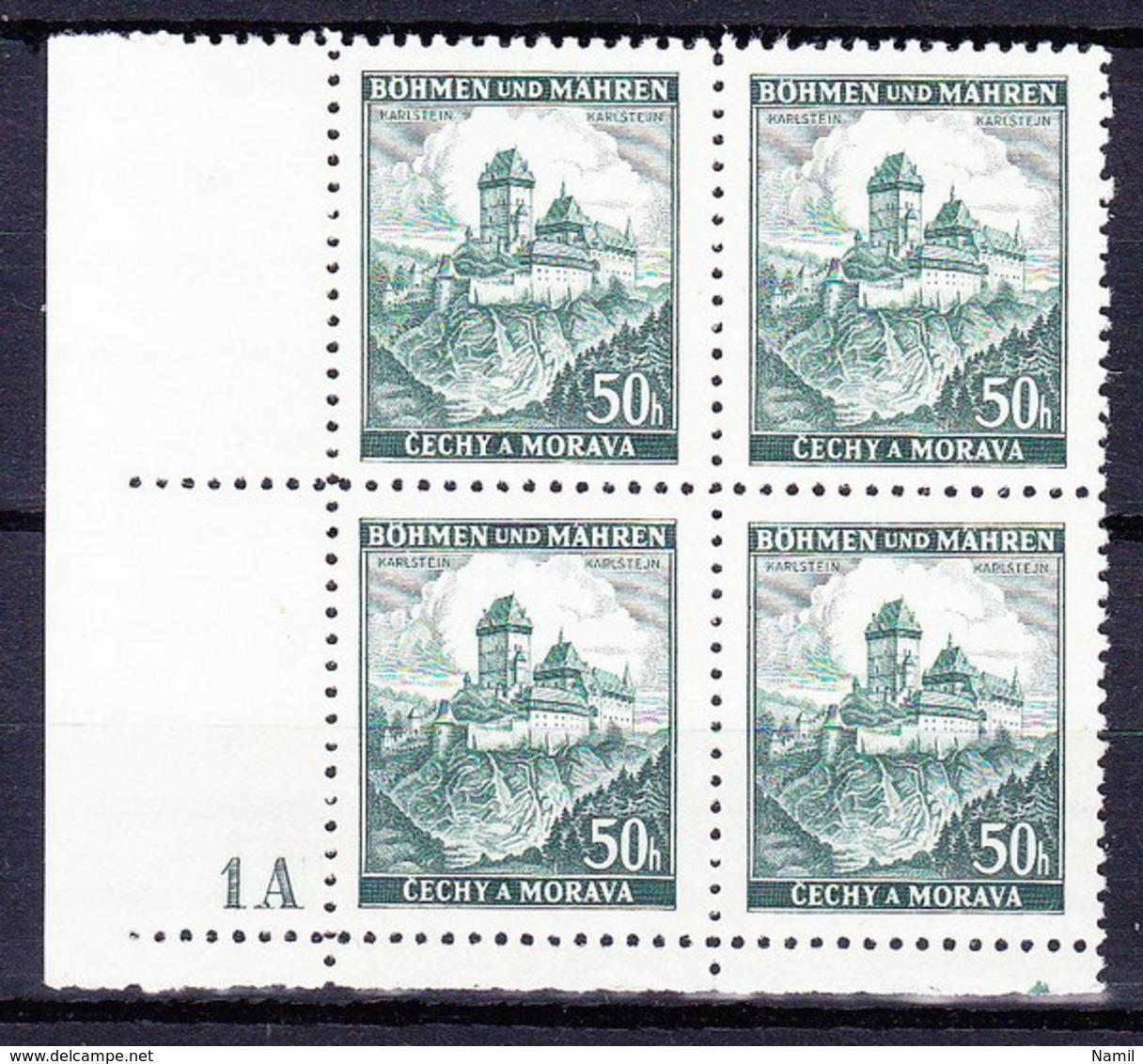 Boheme Et Moravie 1939 Mi 26 (Yv 26), MNH Avec No De Planche 1 A - Bohemia & Moravia