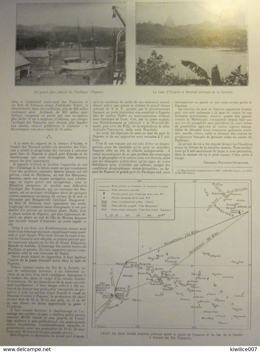 1913  Tahiti Et Le Canal De Panama  Papeete   Moorea Canal De  GAMBOA CULEBRA - Non Classés