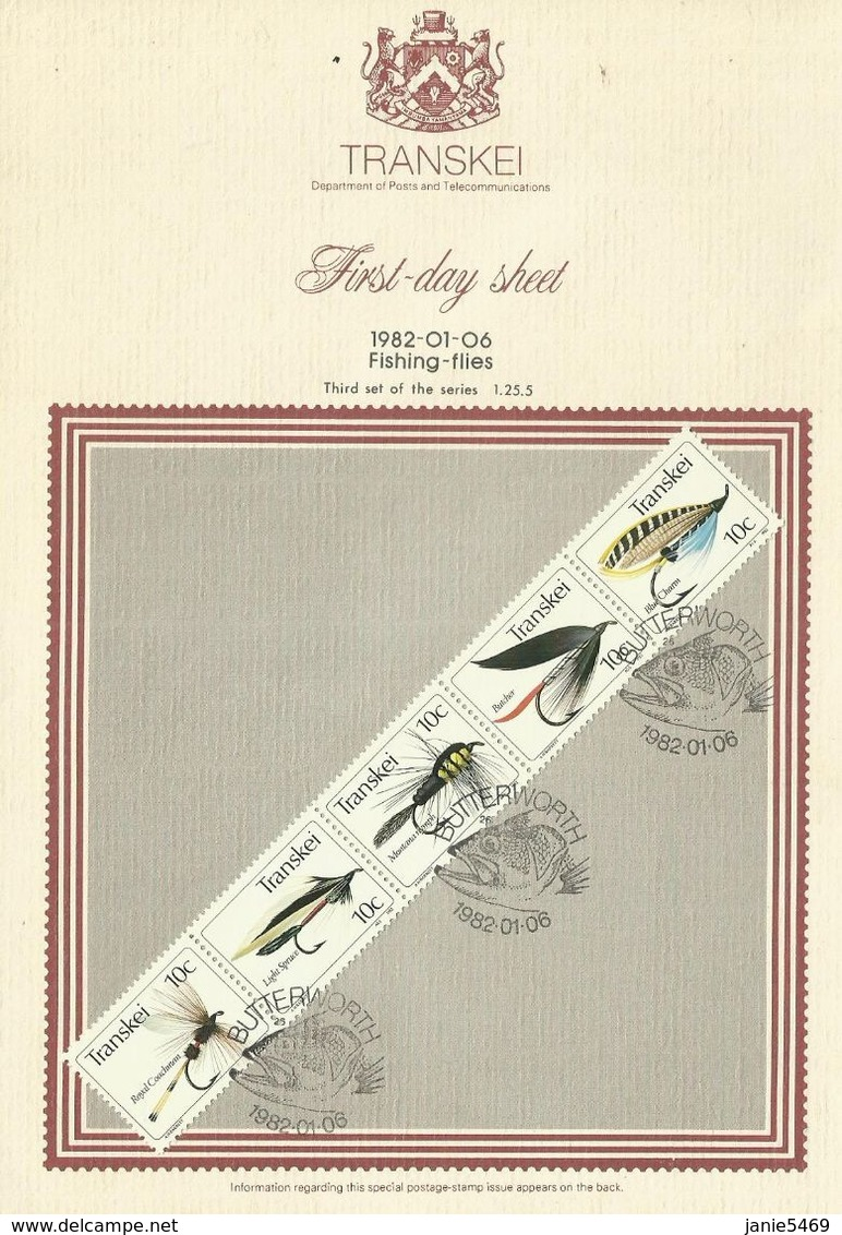 Transkei 1982 Fishing Flies First Day Sheet,toning - Transkei