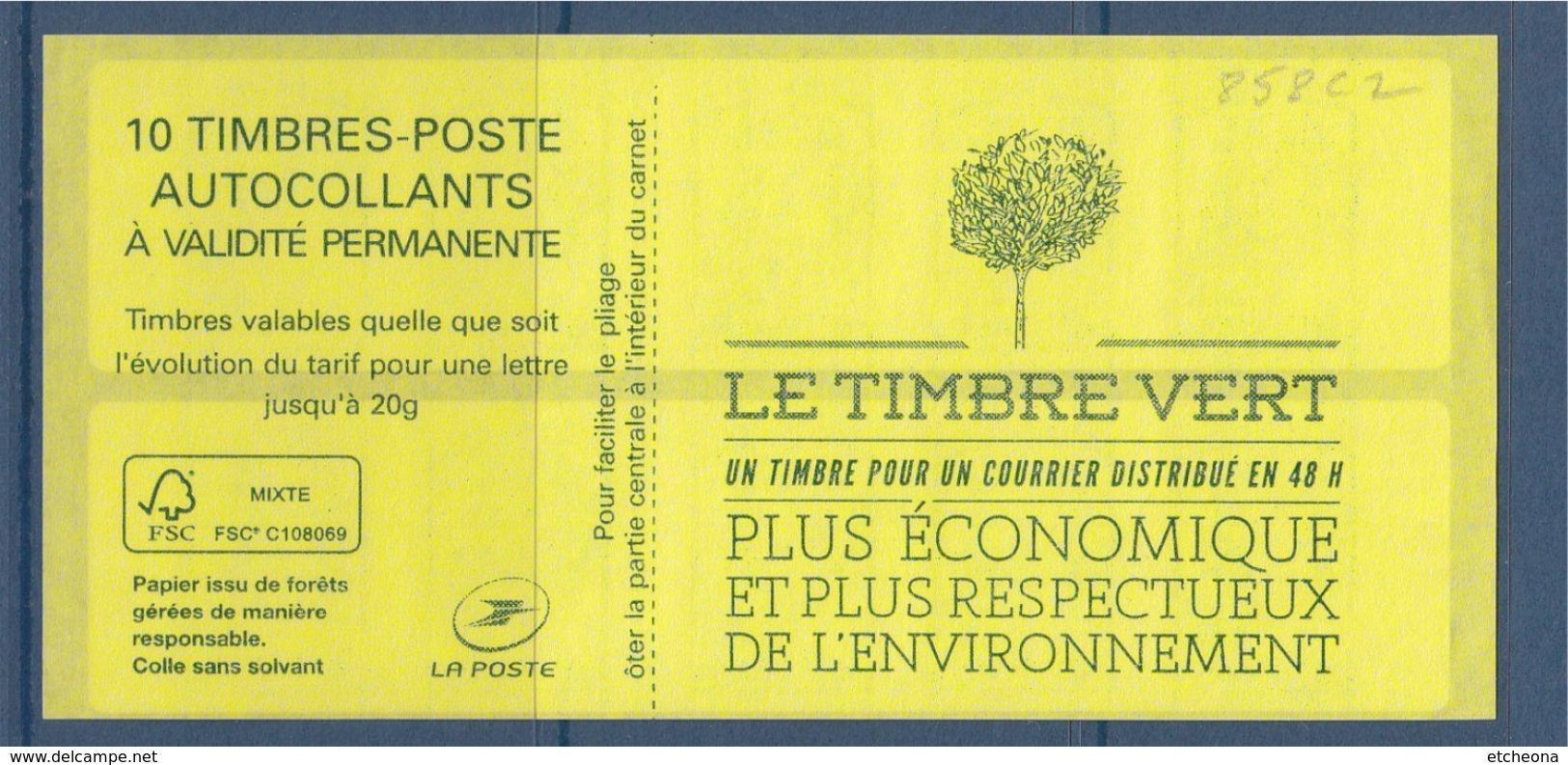 CARNET Marianne Et La Jeunesse, TVP LV -20g N°858-C2  Le Timbre Vert Numéroté 526918 à Gauche Bas Ciappa Kawena - Usage Courant