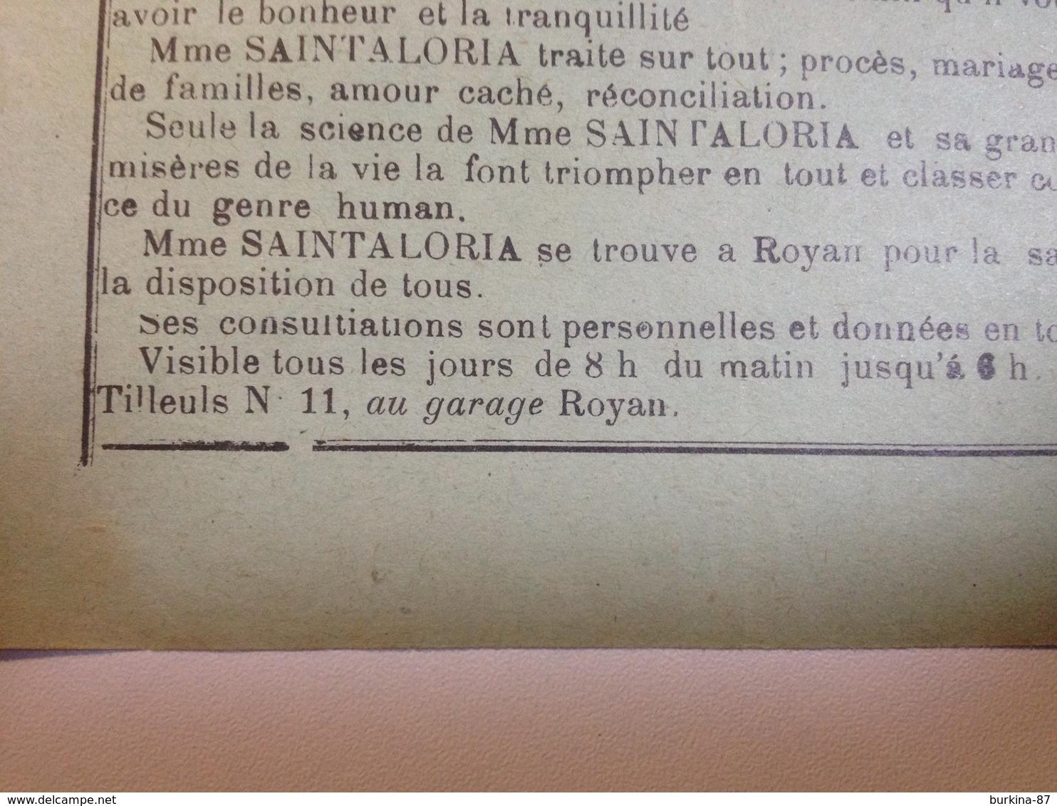 Royan, Mme SAINTALORIA , Cartomancienne, Vers 1920, Petit Feuillet Publicitaire - Reclame