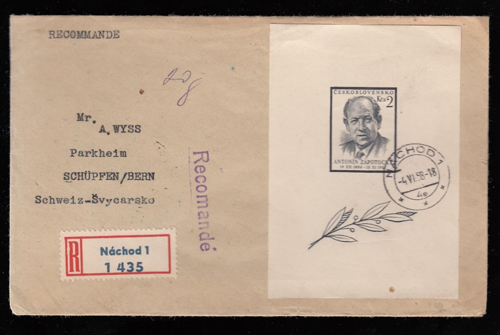 CESKOSLOVENSKO * CZECHOSLOVAKIA * CZECH * REGISTERED COVER WITH BLOCK ANTONIN ZAPOTOCKY 1958 - Tsjechoslowakije