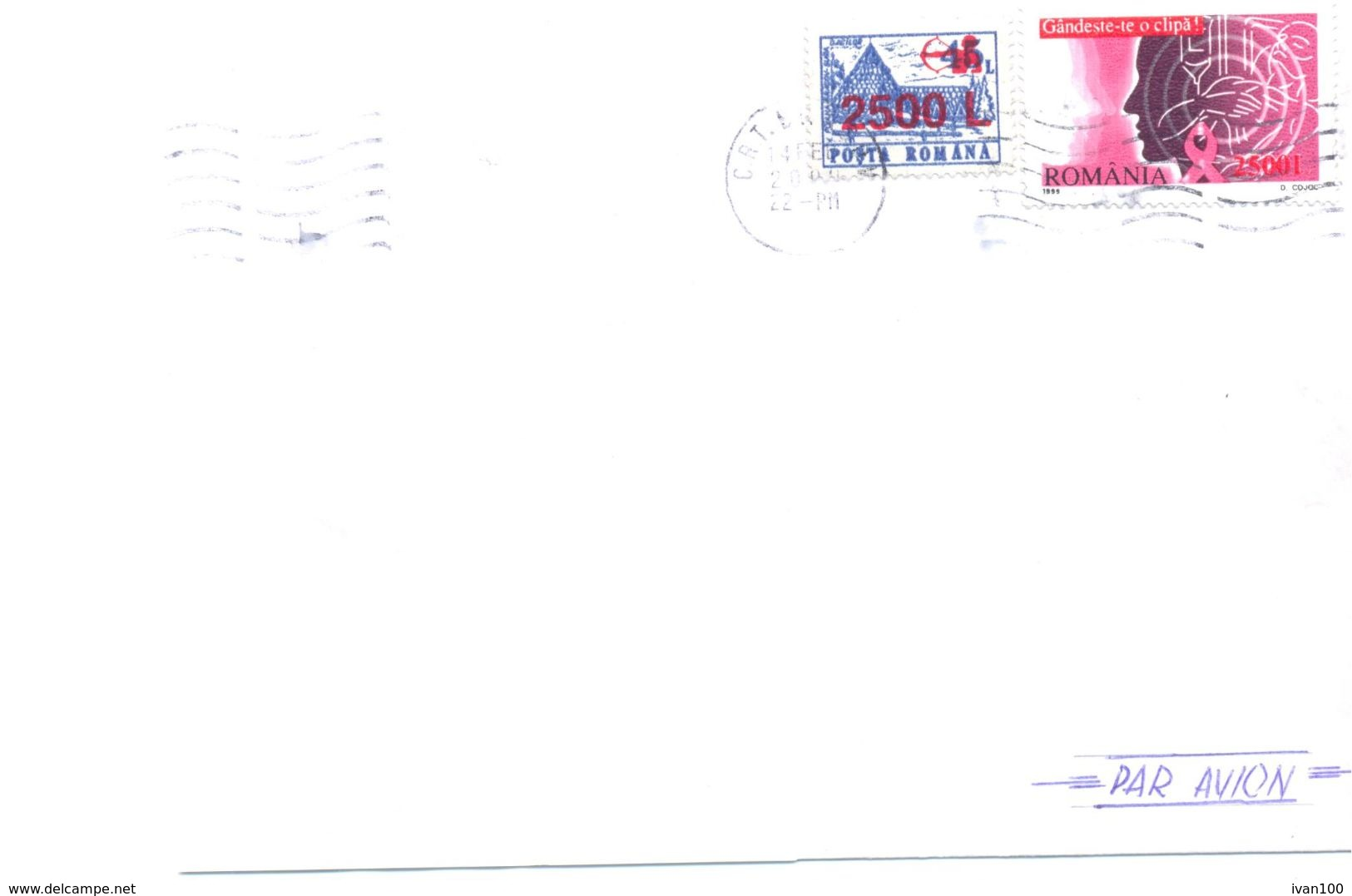 2000. Romania, The Letter Sent  By Air-mail Post To Moldova - 1948-.... Républiques