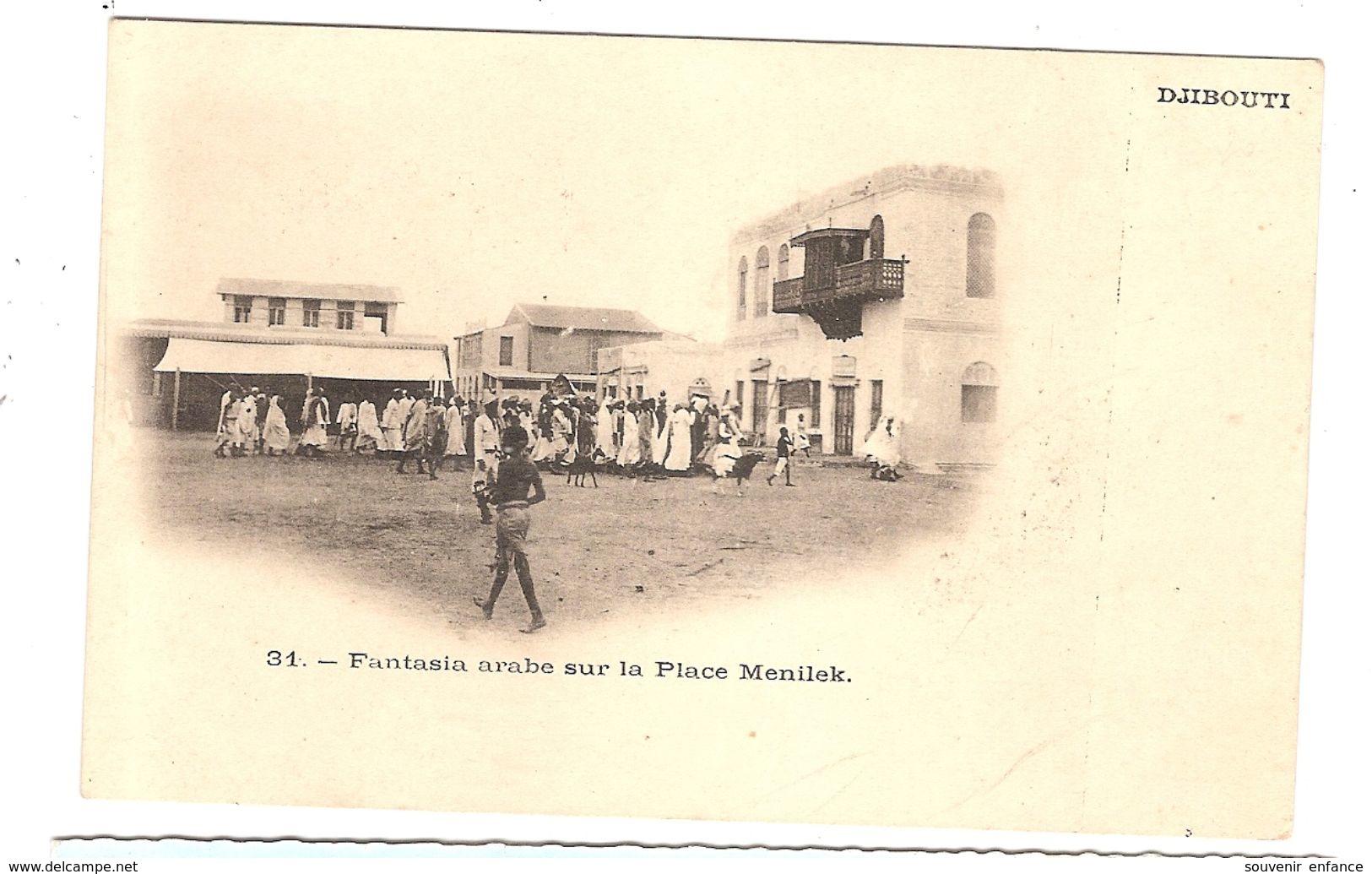 CPA Djibouti Fantasia Arabe Sur La Place Menilek Afrique - Gibuti
