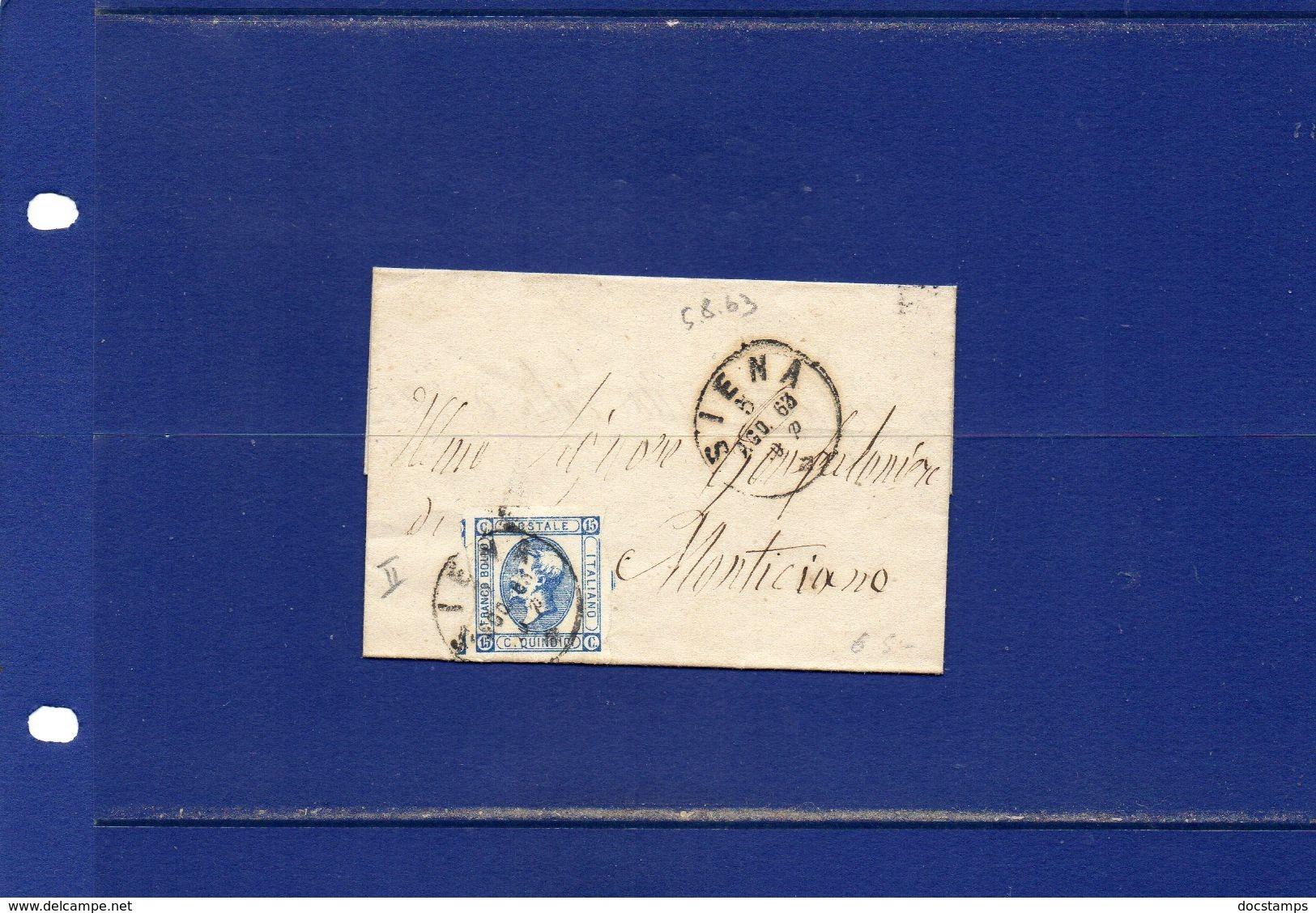 ##(ANT181)-Italia 5-8-1863 - Siena - Effigie Cent  15 II°tipo Su Piccolo Piego Privo Di  Testo Per   Monticiano (Siena) - 1861-78 Vittorio Emanuele II