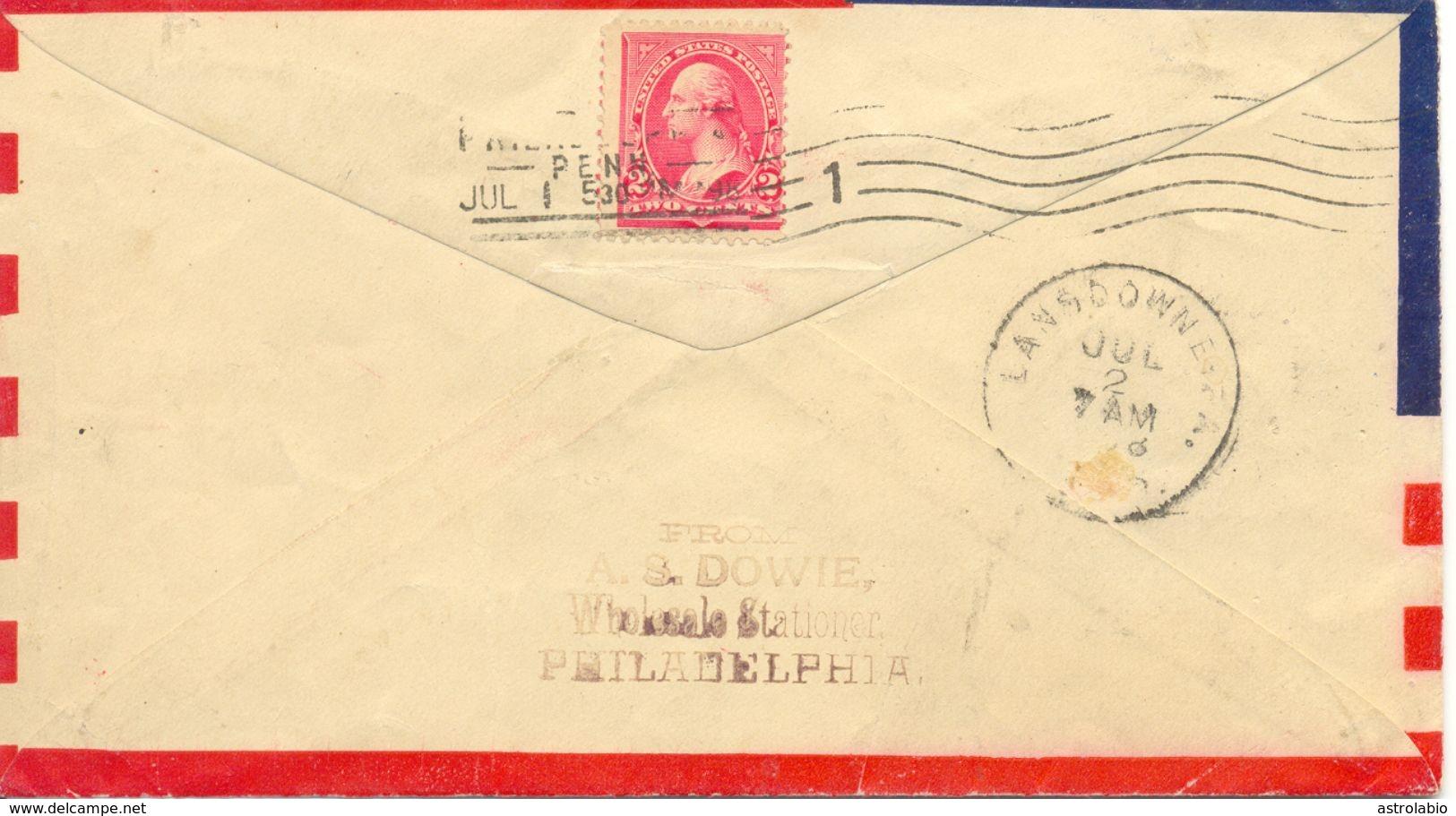 1898 Patriotic-US Flag Cover Voyagé, Letter Avec Drapeau Etats-Unis. Voir 2 Scan - Covers & Documents