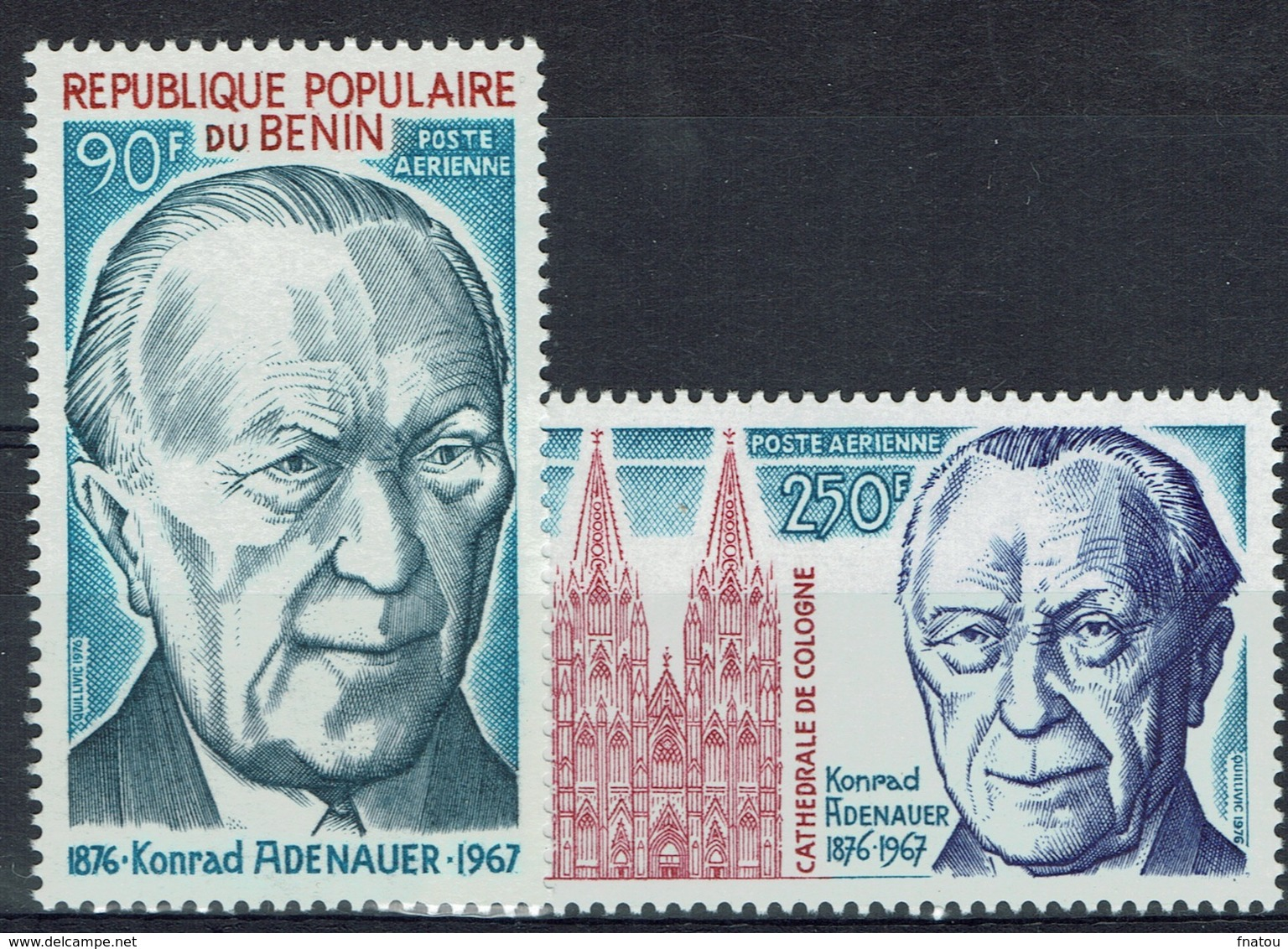Benin, Konrad Adenauer (1876-1967), 1976, MNH VF  Airmail  A Pair - Benin - Dahomey (1960-...)