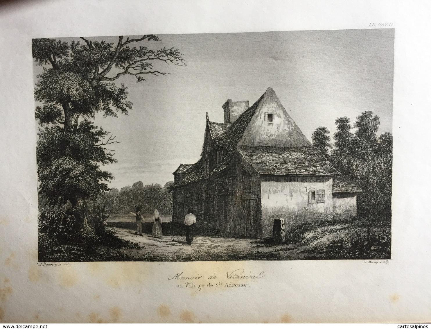 (Normandie) Sainte Adresse: Manoir De Vitanval. Gravure Sur Acier De 1840. - Normandie