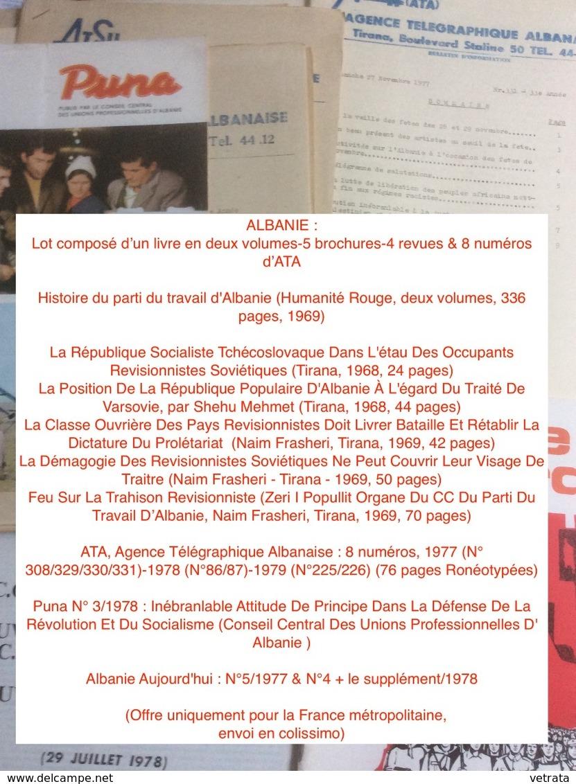 ALBANIE : Lot Composé D'un Livre En Deux Volumes-5 Brochures-4 Revues & 8 Numéros D'ATA - Lots De Plusieurs Livres