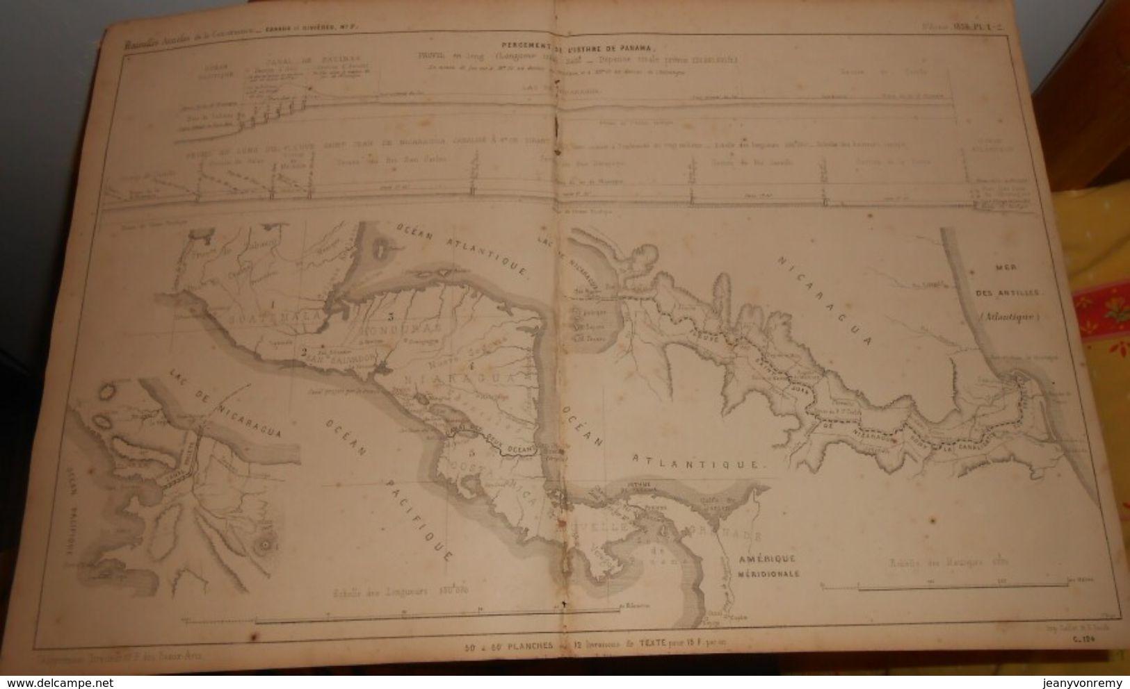 Plan Du Percement De L'Isthme Du Panama. 1859 - Travaux Publics