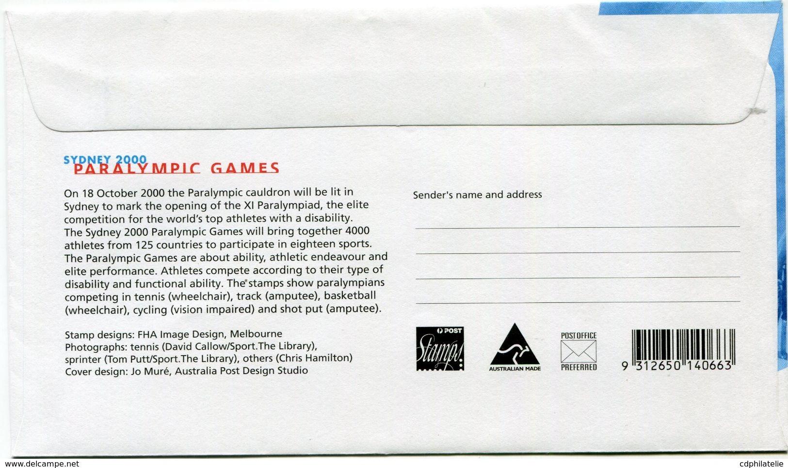 AUSTRALIE ENVELOPPE 1er JOUR DES N°1836/1840 JEUX PARALYMPIQUES DE SYDNEY OBLITERATION SYDNEY 3 JULY 2000 - Sommer 2000: Sydney - Paralympics