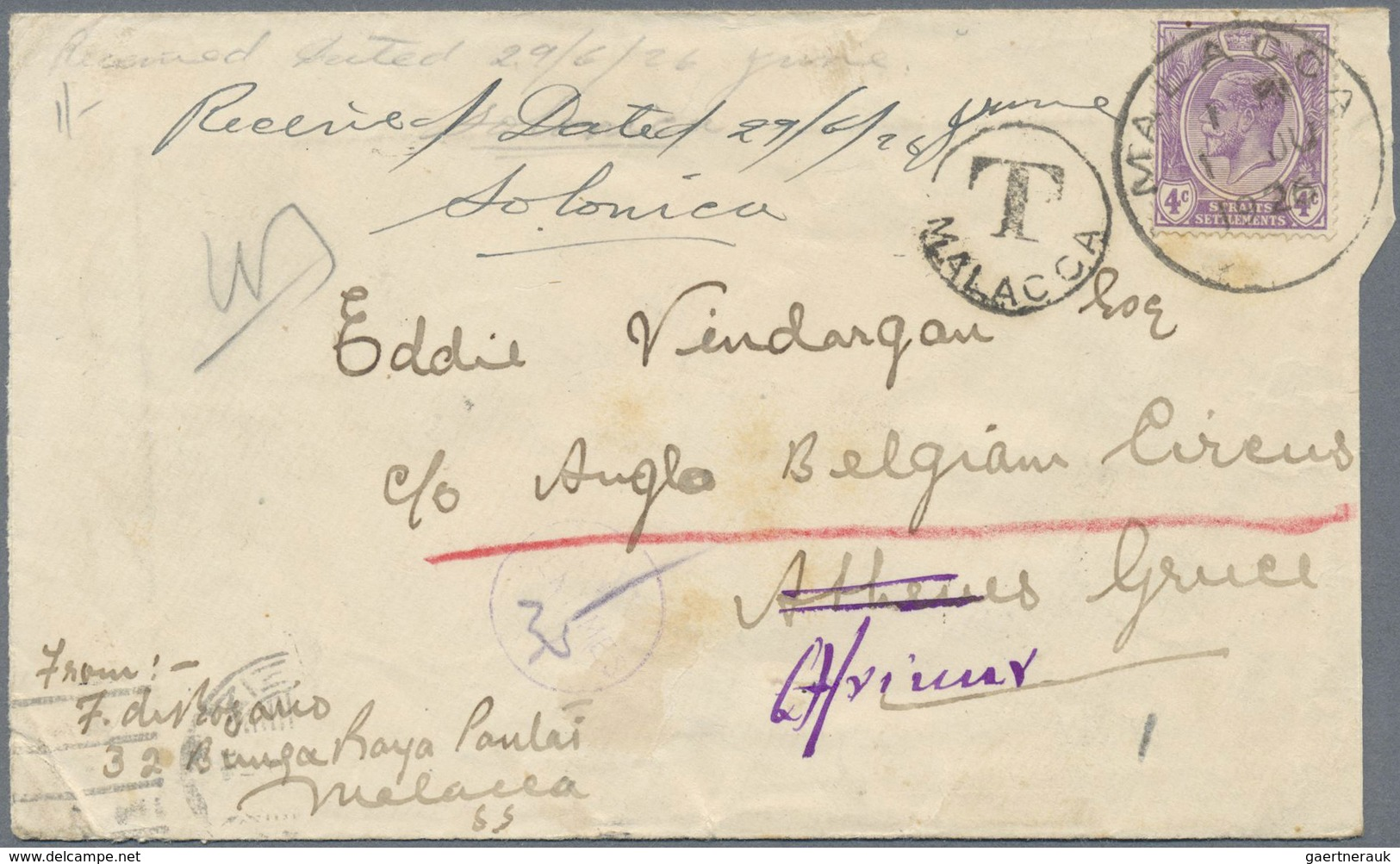 """Br Malaiische Staaten - Malakka: 1926, 12c. Violet On Cover From """"MALACCA 1 JU 1926"""" To Athens/Greece, - Malacca"""