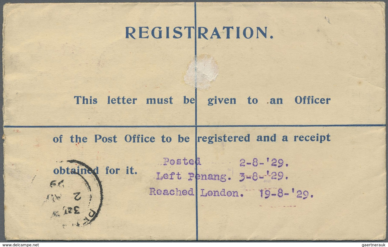 "GA/ Malaiische Staaten - Penang: 1929, Registered Airmail Uprated Stationery Envelope For ""Karachi-Londo - Penang"