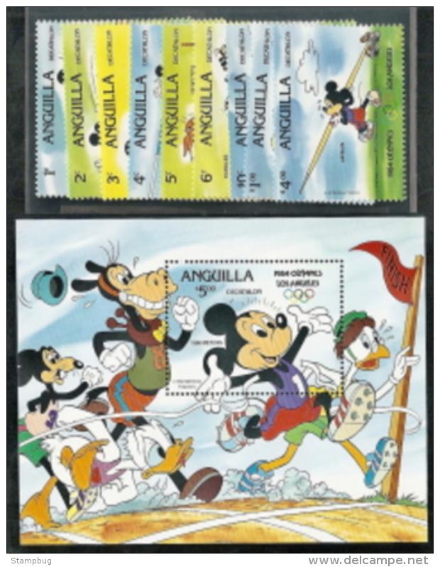 Anguilla, Scott 2018 # 559A-567A , Issued 1984,  Set Of 9 + S/S Of 1,  MNH, Cat $ 26.00,  Disney - Anguilla (1968-...)
